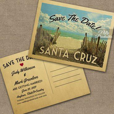 Santa Cruz California Save The Date Beach PRINTED