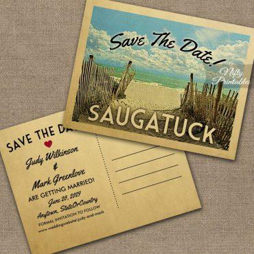Saugatuck Michigan Save The Date Beach PRINTED