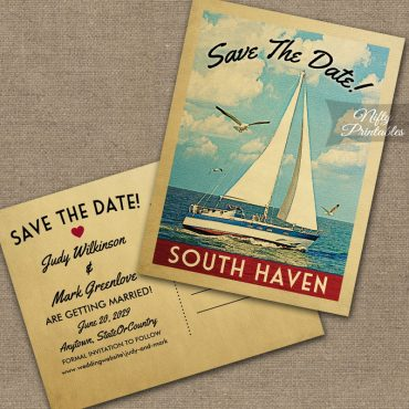 South Haven Michigan Save The Date Sailboat Nautical PRINTED