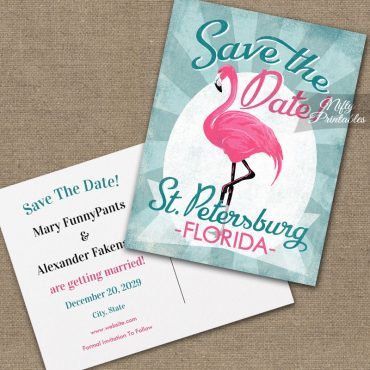 St Petersburg Florida Save The Date Pink Flamingo PRINTED