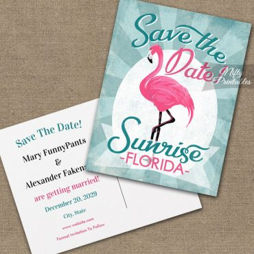 Sunrise Florida Save The Date Pink Flamingo PRINTED