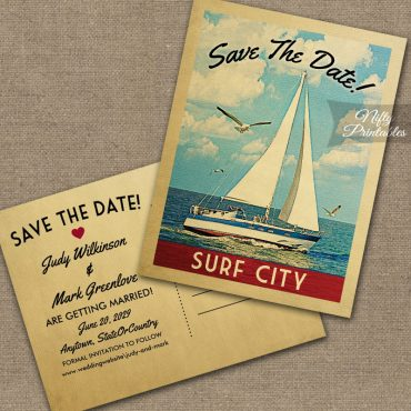 Surf City New Jersey Save The Date Sailboat Nautical PRINTED