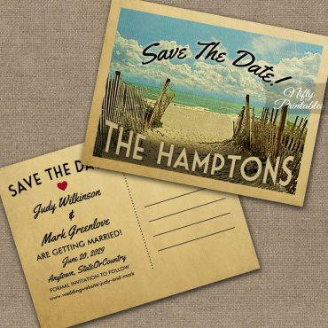 The Hamptons New York Save The Date Beach PRINTED