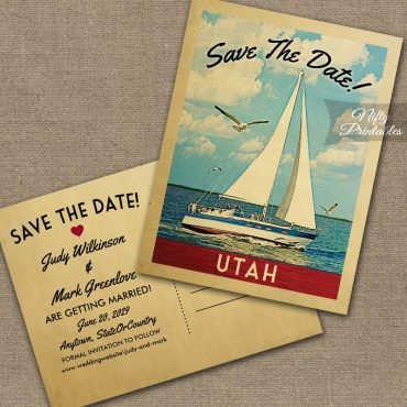 Utah Save The Date Sailboat Nautical PRINTED