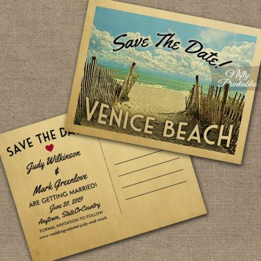 Venice Beach California Save The Date Beach PRINTED