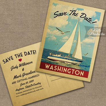 Washington Save The Date Sailboat Nautical PRINTED
