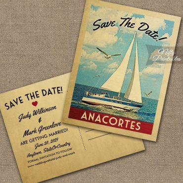 Anacortes Washington Save The Date Sailboat Nautical PRINTED