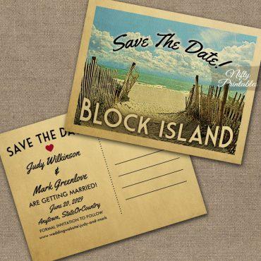 Block Island Rhode Island Save The Date Beach PRINTED