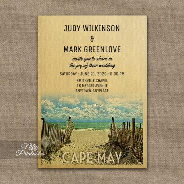 Cape May New Jersey Wedding Invitations Beach PRINTED