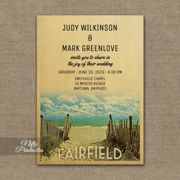 Fairfield Connecticut Wedding Invitation Beach PRINTED