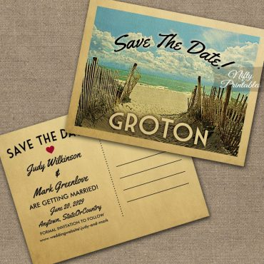 Groton Connecticut Save The Date Beach PRINTED