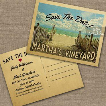 Martha's Vineyard Massachusetts Save The Date Beach PRINTED