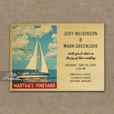 Martha's Vineyard Massachusetts Wedding Invitations Sailboat Nautical PRINTED