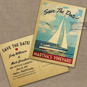 Martha's Vineyard Massachusetts Save The Date Sailboat Nautical PRINTED
