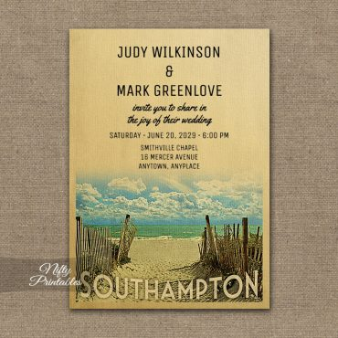 Southampton New York Wedding Invitation Beach PRINTED
