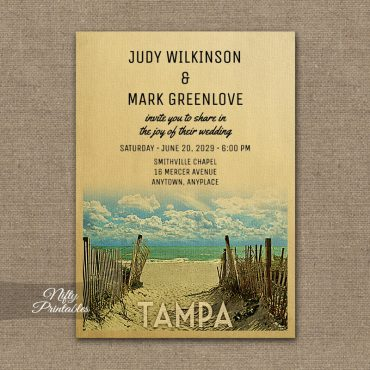 Tampa Florida Wedding Invitations Beach PRINTED
