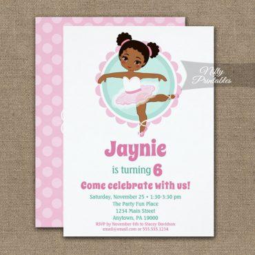 African American Ballerina Dancing Birthday Invitations PRINTED