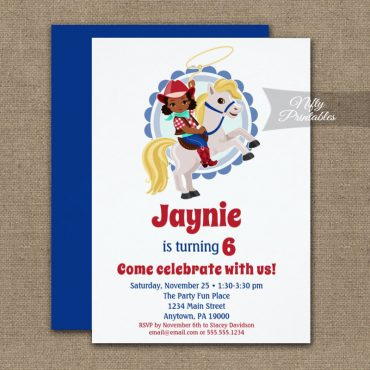 African American Cowgirl Horse Rodeo Birthday Invitation PRINTED