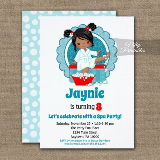 African American Spa Party Girls Birthday Invitations PRINTED