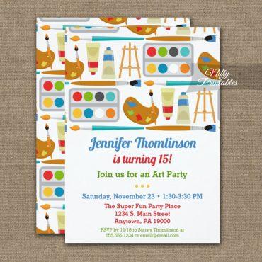 Art Party Birthday Invitation Painting Arts Crafts PRINTED