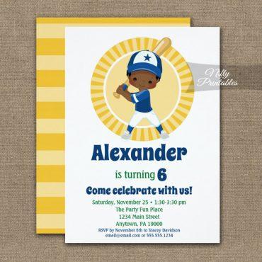 Baseball African American Boys Birthday Invitation PRINTED