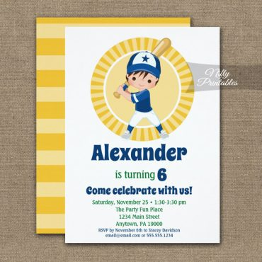 Baseball Brown Hair Boys Birthday Invitation PRINTED
