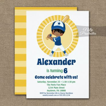 Baseball Player Hispanic Boys Birthday Invitation PRINTED