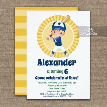 Baseball Player Red Hair Boys Birthday Invitation PRINTED