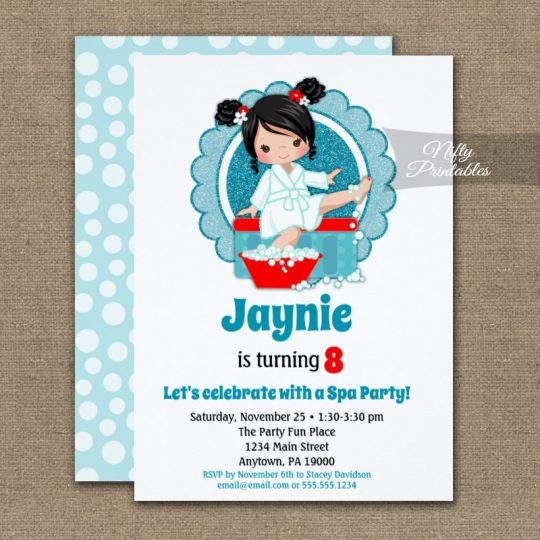 Black Hair Spa Party Girls Birthday Invitations PRINTED
