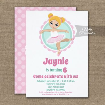 Blonde Ballerina Birthday Invitation PRINTED