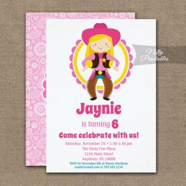 Blonde Cowgirl Birthday Invitation PRINTED