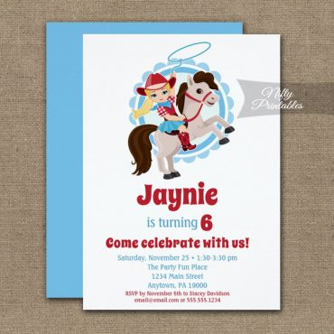 Blonde Cowgirl Horse Rodeo Birthday Invitation PRINTED