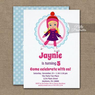 Blonde Ice Skater Birthday Invitation PRINTED