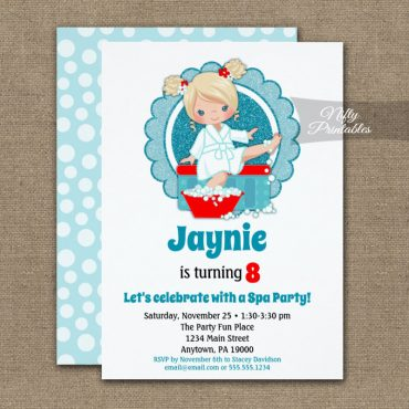Blonde Spa Party Girls Birthday Invitations PRINTED