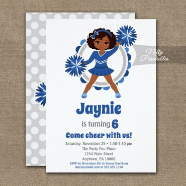 Blue Cheerleader African American Birthday Invitation PRINTED