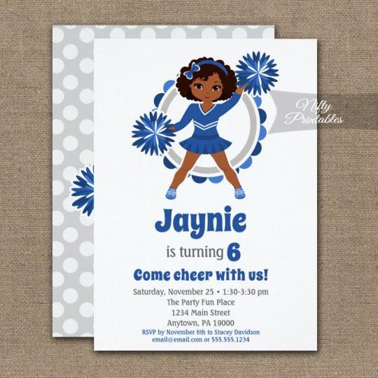 Blue Cheerleader African American Birthday Invitations PRINTED