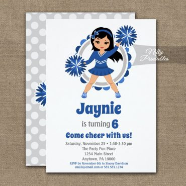 Blue Cheerleader Black Hair Birthday Invitation PRINTED