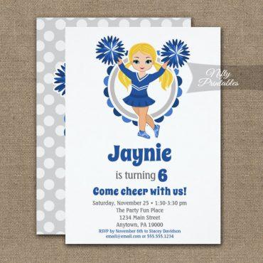 Blue Cheerleader Blonde Birthday Invitations PRINTED