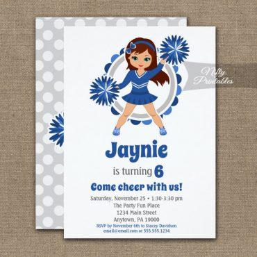 Blue Cheerleader Brunette Birthday Invitations PRINTED