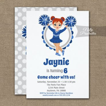 Blue Cheerleader Redhead Birthday Invitation PRINTED