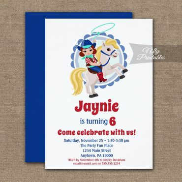 Brunette Cowgirl Horse Rodeo Birthday Invitations PRINTED