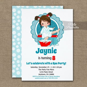 Brunette Spa Party Girls Birthday Invitations PRINTED