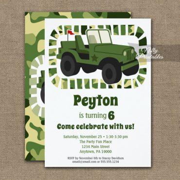 Camo Army Military Boys Birthday Invitations PRINTED