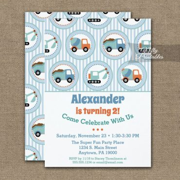 Construction Birthday Invitation Toddler 1st 2nd PRINTED