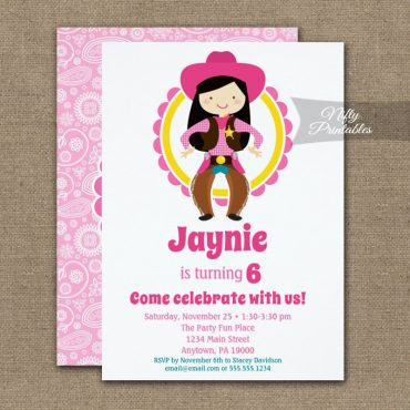 Cowgirl Black Hair Cowgirl Birthday Invitation PRINTED