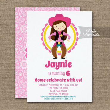 Cowgirl Brunette Cute Cowgirl Birthday Invitation PRINTED