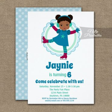 Cute African American Ice Skating Birthday Invitation PRINTED