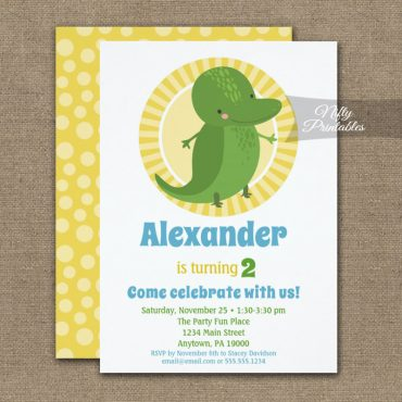 Cute Alligator Birthday Invitation Boy Girl PRINTED