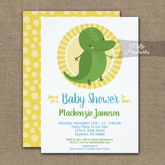 Cute Alligator Neutral Baby Shower Invitation PRINTED