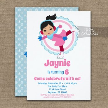 Cute Black Hair Ice Skating Birthday Invitation PRINTED